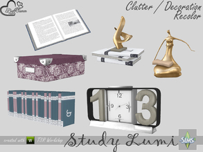 Sims 4 — [Recolor] Study Lumi Clutter by BuffSumm — Some Recolors of the Lumi Study / Office Clutter Set Meshes