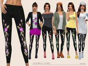 Sims 4 — LeggingsRoses by Paogae — Cute black leggings with roses pattern, in five colors, to be used in many different