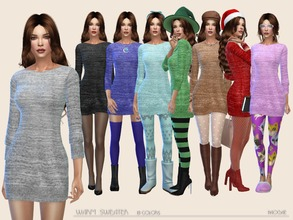 Sims 4 — Warm Sweater by Paogae — Warm melange sweater in eight colors for autumn and winter, to create elegant or casual