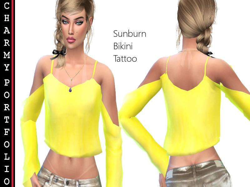 Tattoo Bikini: Charmy Sims Portfolio's Tanning Sunburn Bikini Tattoo