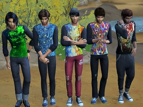 Sims 4 — men's long sleeve shirt by padry67 — men's long sleeve shirt from the basic game. They are colored on a black