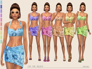 Sims 4 — On the Beach by Paogae — Perfect on the beach, top and pareo in ten colors ... enjoy the summer! Categories: