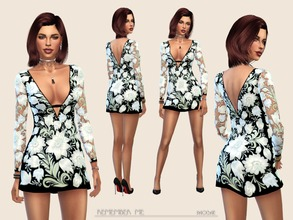Sims 4 — Remember me ... by Paogae — Elegant mini dress, black background with overlapping floral pattern, transparent