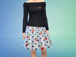 Sims 4 — Cherries by mea3 — An flared out white skirt with black polka dots and cherries, and a black off the shoulder