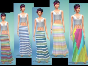 Sims 4 — Striped Skirts  by mea3 — A nice long skirts with five swatches of different patterns that are colorful