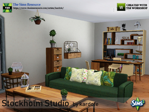Sims 3 — kardofe_Stockholm Studio by kardofe — Set of furniture to decorate a studio with relaxation area with sofa.