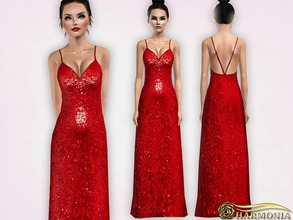 Sims 3 — Strappy Glitter Sequin Maxi Dress by Harmonia — Mesh By Harmonia 4 color. recolorable Please do not use my