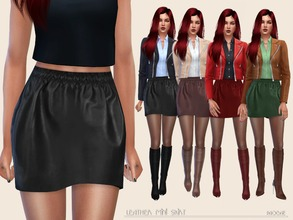 Sims 4 — LeatherMiniSkirt by Paogae — Leather mini skirt, in four colors, that our sim-girls can use and match as they