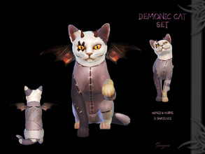 Sims 4 — [Suzue] Demonic Cat Set by Suzue — Horns and wings for cats. * New Mesh (Suzue) * 15 Swatches * Hat and Costume