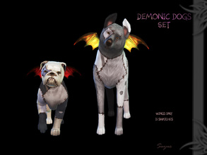 Sims 4 — [Suzue] Demonic Dog Set by Suzue — Wings for dogs. * New Mesh (Suzue) * 15 Swatches * Costume Category