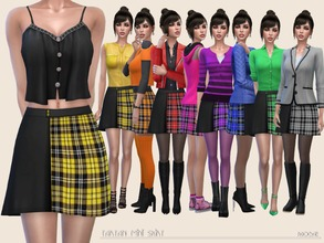 Sims 4 — TartanMiniSkirt by Paogae — Tartan mini skirt, in eight colors, that our sim-girls can use and match as they