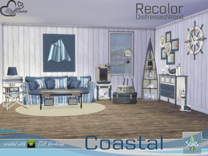 Sims 4 — Coastal Living Distressed Wood Recolor by BuffSumm — Recolor with distressed wood for the Coastal Living Room...