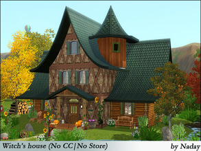 Sims 3 — Witch's house(No CC) by Naday_sims — This house has two levels building,1 bedroom and 2 bathrooms. Interior