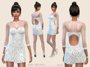 Sims 4 — SilverMiniDress by Paogae — White-silver mini dress with sequins, voile top, round opening and buttons on the