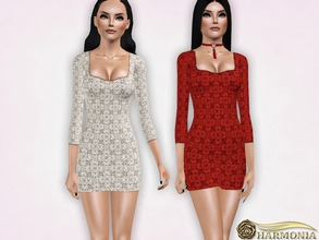 Sims 3 — Long Sleeve Lace Overlay Mini Dress by Harmonia — 3 variations Recolorable Please do not use my textures. Please
