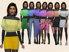 Sims 4 — Wool Set by Paogae — Black turtleneck sweater, with short wool top in eight colors, perfect for the autumn and