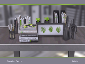 Sims 4 — Carolina Decor by soloriya — Decorative set for your living rooms or offices. Includes 9 objects, black and