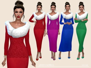 Sims 4 — Winter Evenings by Paogae — Elegant long dress with lace and fur shawl, perfect for winter evenings and parties