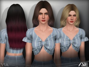 Sims 3 — Ade - Via by Ade_Darma — New Hair Mesh No Morph all Bones assigned All LODs