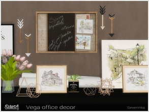 Sims 4 — Vega office decor by Severinka_ — Set of decor for home office in Scandinavian style The set includes 8 objects: