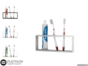 Sims 4 — Platinum Tooth Brush Holder by wondymoon — - Platinum Bathroom - Tooth Brush Holder - Wondymoon|TSR -