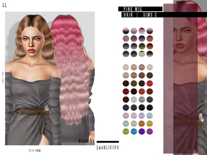 Sims 3 — LeahLillith Pink Wig Hair by Leah_Lillith — Pink Wig Hair All LODs Smooth bones hope you will enjoy^^