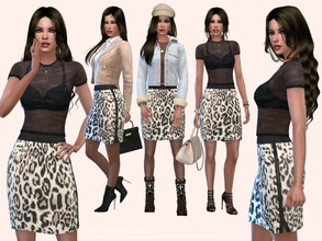 Sims 4 — CityJungle Skirt by Paogae — Nice short skirt, animalier pattern, small side slit, perfect in every season, to
