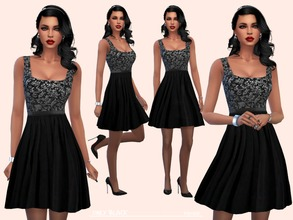 Sims 4 — OnlyBlack by Paogae — Nice elegant dress, embroidered bodice and flared skirt, only black, to wear in formal
