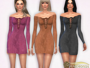 Sims 4 — Faux Suede Lace-Up Dress by Harmonia — Mesh By Harmonia 9 color Please do not use my textures. Please do not