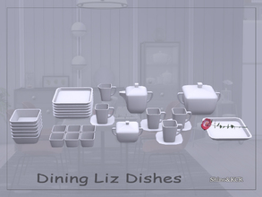 Sims 4 — Dining Liz Dishes by ShinoKCR — Final Set of the Liz Series -Tea Pot, single Cup, 3 x Cups, Sugar Server, Milk