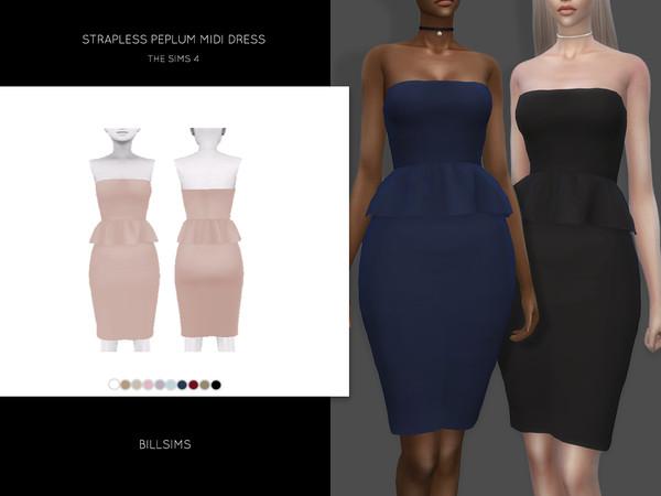 Strapless Peplum Midi Dress