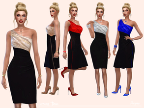 Sims 4 — Xmas time by Paogae — Elegant one-shoulder dress, knee-length, black bottom and top in four colors, perfect for