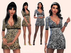 Sims 4 — HappyNewYear! by Paogae — Short dress, really shiny, gold and silver pattern, perfect to shine the New Year's