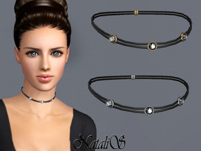 Sims 3 — NataliS TS3 Double leather choker with crystals by Natalis — Double leather choker with crystals. FT-FA-YA