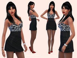 Sims 4 — HappyNewYear! 2 by Paogae — Short dress, draped black bottom, black and white lace bodice, strapless, perfect