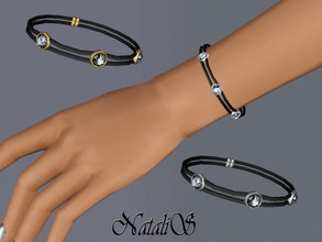 Sims 3 — NataliS TS3 Double leather bracelet with crystals by Natalis — Double leather bracelet with crystals. FT-FA-YA