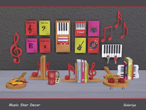 Sims 4 — Music Star Decor by soloriya — Decorative set for your music rooms. Includes 12 objects. 4 color palettes. Items