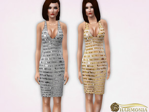 Sims 3 — Sequin V-Neck Midi Dress by Harmonia — Mesh By Harmonia 3 variations not-Recolorable