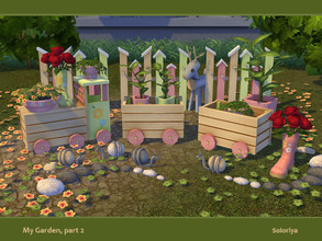 Sims 4 — My Garden, part 2 by soloriya — Decorative and functional items for your gardens. Includes 9 objects, 3-6 color