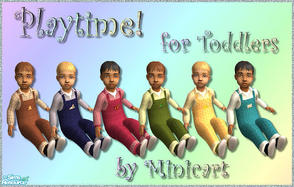 Sims 2 — Playtime! by minicart — Set of six dungarees for your toddler in red, blue, green, brown, turquoise and yellow.
