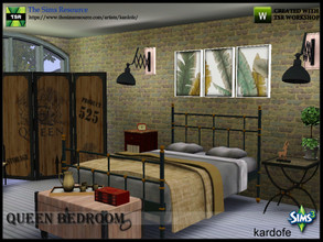Sims 3 — kardofe_Queen Bedroom  by kardofe — Industrial style bedroom with vintage elements, in which wood and metal