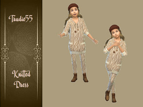 Sims 4 — Knitted dress for girls by TrudieOpp — Knitted dress for girls Part of a set of dress and tights Recolor