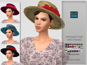 Sims 4 — Romantic Hat with Flowers by Elfdor — - 35 swatches - new mesh - 2 versions - everyday, formal, party - teen to