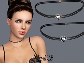 Sims 3 — NataliS TS3 Double leather choker with heart by Natalis — Double leather choker with heart. FA-YA.