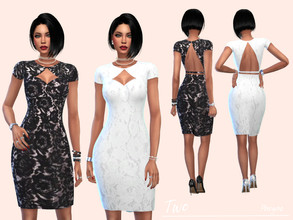 Sims 4 — Two by Paogae — A model, two patterns, two colors, black and white. Elegant lace for a classy dress that is also