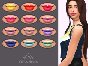 Sims 4 — ONN Yuna Lipstick by OhNoNeeko — Yuna Lipstick 3D Mesh Custom tumbnail 12 Color options Please check out my