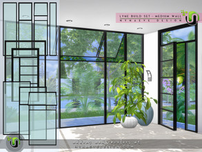 Sims 4 — Lyne Build Set II - Medium Walls by NynaeveDesign — The modern design of these windows and doors, makes them the