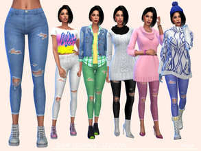 Sims 4 — JeansLeggings  by Paogae — Nice leggings in 22 colors, can be used as bottom or as leggings and then combined