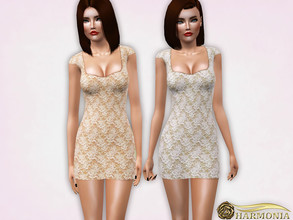 Sims 3 — Lace Contrast Bodycon Dress by Harmonia — 4 variations not-Recolorable Please do not use my textures. Please do