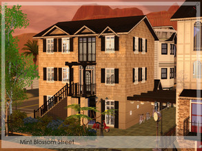 Sims 3 — Mint Blossom Street by timi722 — Mint Blossom Street is a street detail with row houses. Unfurnished, but
